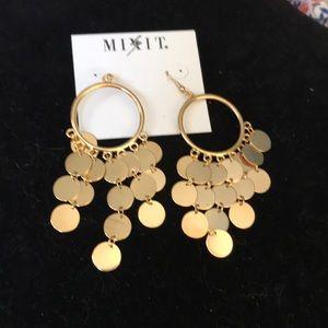 Gold hanging earrings